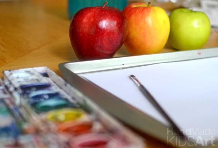 paint apples set up close